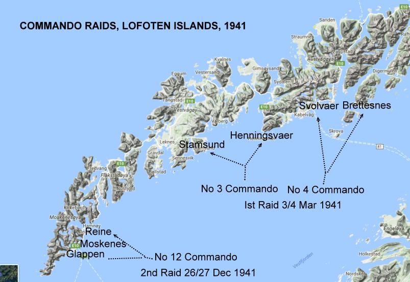 LOFOTEN ISLANDS RAID OPERATION CLAYMORE - Norway map lofoten islands